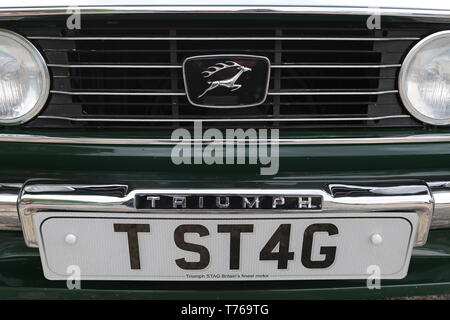 Personal plate on Triumph Stag (1976), British Marques Day, 28 April 2019, Brooklands Museum, Weybridge, Surrey, England, Great Britain, UK, Europe - Stock Image
