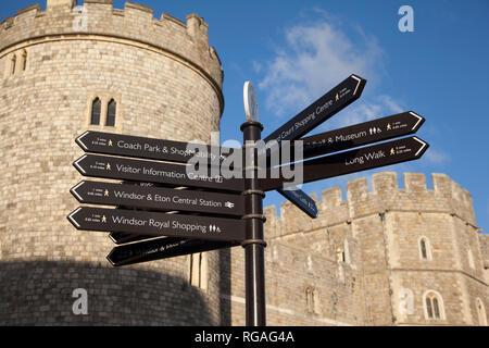 Tourist information signs outside Windsor Castle, Berkshire - Stock Image