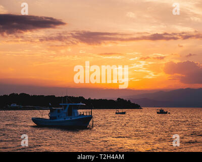 Colourful summer sunset in Thasos Island, Greece - Stock Image
