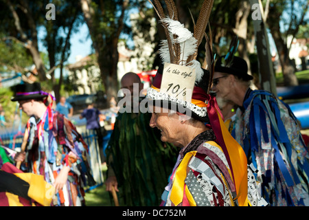 Group of male and female Morris Dancers - Stock Image