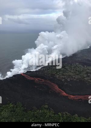 Lava and poisonous sulfur dioxide plumes rise as molten magma reaches the ocean from the eruption of the Kilauea volcano May 21, 2018 in Pahoa, Hawaii. Hot lava entering the ocean creates a dense white plume called 'laze' (short for 'lava haze'). Laze is formed as hot lava boils seawater to dryness. The process leads to a series of chemical reactions that create a billowing white cloud composed of a condensed seawater steam, hydrochloric acid gas, and tiny shards of volcanic glass. The cloud is as corrosive as dilute battery acid, and should be avoided. - Stock Image