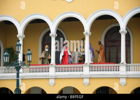 Nativity Scene, Municipal Palace of Lima, Plaza Mayor or Plaza de Armas, Lima, Peru, South America - Stock Image