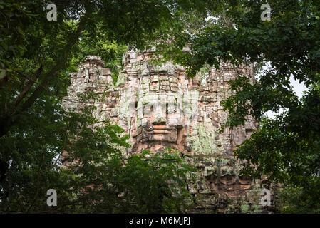 A carved stone face peeking through the jungle at the Baksei Chamkrong temple in Cambodia. - Stock Image