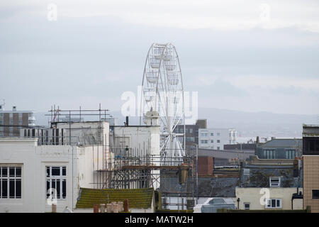 Observation wheel set up in worthing giving good views across worthing town and surrounding coastline. - Stock Image