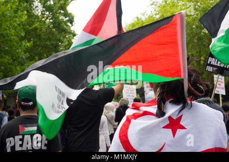Gaza demonstration -  Free Palestine Demo - UK - Stock Image