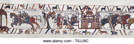 Scene 11-12 of the Bayeux Tapestry  - Armoured soldiers are sent to Beaurain and William gives orders to messengers. - Stock Image