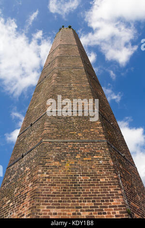 The chimney of former Burrs cotton mill which now forms part of Burrs Country Park, Bury, Greater Manchester. The - Stock Image