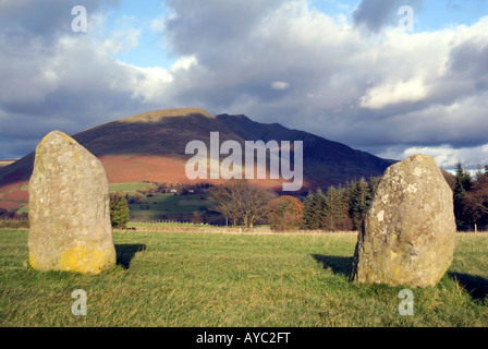 Stone circle below Blanecathra saddle back mountain peak Lake District National Park Cumbria for sale UK England - Stock Image