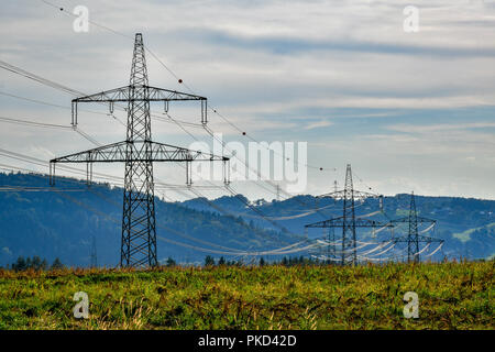 high voltage power line - Stock Image