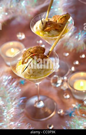 Warm Foie Gras with Mashed Jerusalem Artichoke - Stock Image