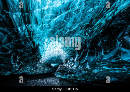 The magnificent glacial ice caves of Iceland's Vatnajokull Glacier. Located in the South East of the island. This particular cave is in the Breiðamerk - Stock Image