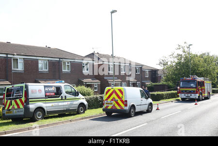 Purbrook, Hampshire, UK. 7th September, 2015. Emergency services where called the scene of a fatal fire in Purbrook - Stock Image