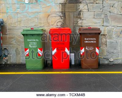 Recycling bins, Santa Margherita Ligure - Stock Image