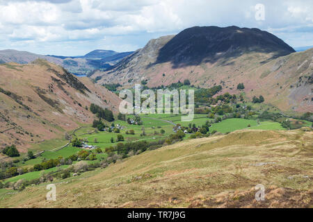 Place Fell and the Confluence of the Deepdale and Patterdale Valleys, Viewed from Gale Crag, Hartsop Above How, Lake District, Cumbria, UK - Stock Image