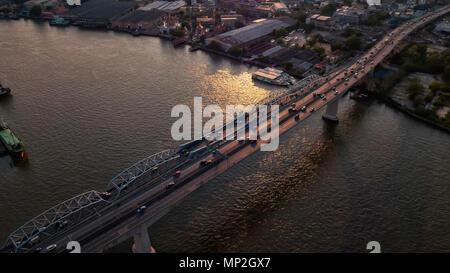 A drone image taken over a bridge in Bangkok, Thailand - Stock Image