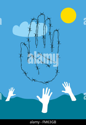 Barbed wire hand stopping drowning refugees - Stock Image