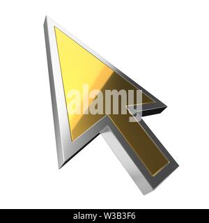 golden luxury cursor on white background. suitable for internet, computer and technology themes. 3d illustration - Stock Image