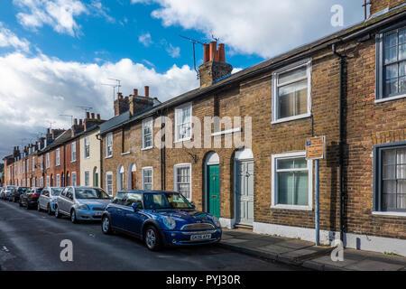 Row,Terraced,Houses,Cross Street,St Dunstan's Area,Canterbury,Kent,England - Stock Image