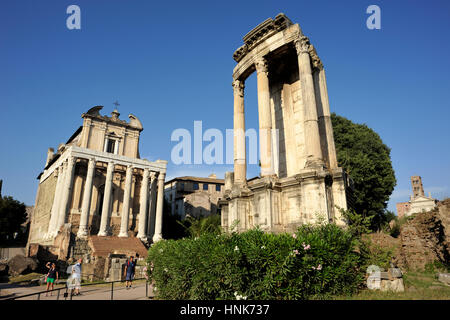 italy, rome, roman forum, temple of vesta and temple of antoninus and faustina (church of san lorenzo in miranda) - Stock Image