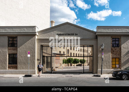 Berlin-Mitte.Restored  Entrance to courtyard of Historic listed old Postfuhramt Post Office building in Auguststrasse - Stock Image