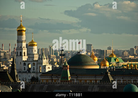 MOSCOW, AUGUST 7, 2018: Ivan the Great belfry of Moscow Kremlin, dome of Kremlin's Senate building with the Standard of the President of the Russian F - Stock Image