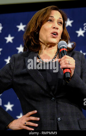 North Charleston, United States. 15th Feb, 2019. Senator Kamala Harris address a town hall meeting during her campaign for the Democratic presidential nomination February 15, 2019 in North Charleston, South Carolina. South Carolina is the first southern democratic primary for the presidential race. Credit: Planetpix/Alamy Live News - Stock Image