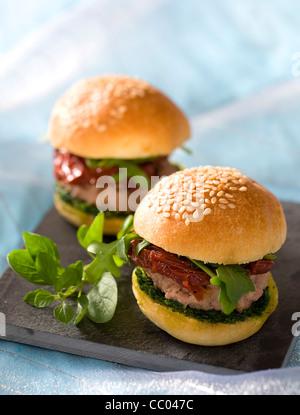 Italian Style Small Burgers - Stock Image