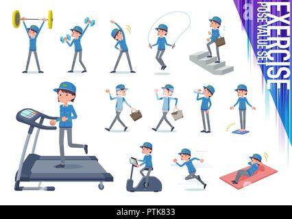 A set of delivery women on exercise and sports.There are various actions to move the body healthy.It's vector art so it's easy to edit. - Stock Image