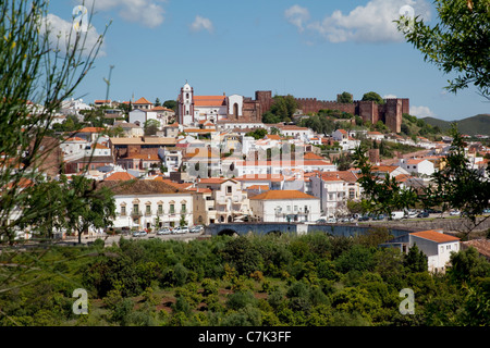 Portugal, Algarve, Silves, View of Town, Cathedral & Castle - Stock Image