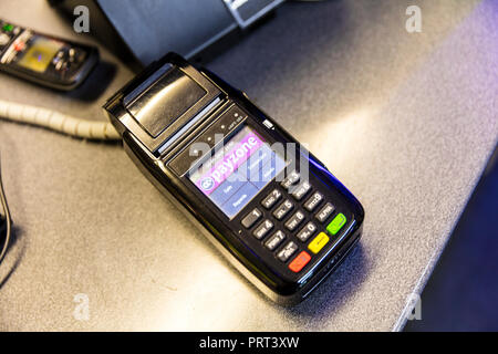 Payzone card machine, Payzone is a Dublin-based card payment provider, offering merchant services to companies in and around the UK. - Stock Image