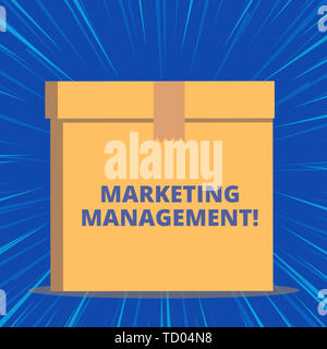 Writing note showing Marketing Management. Business concept for Develop Advertise Promote a new Product or Service Close up front view brown cardboard - Stock Image