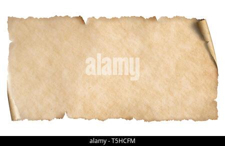 Horizontal old narrow paper sheet isolated on white - Stock Image