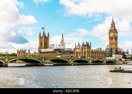 London Bridge, Big Ben, Houses of Parliament London UK England, London Bridge London city UK, London Bridge, Big - Stock Image