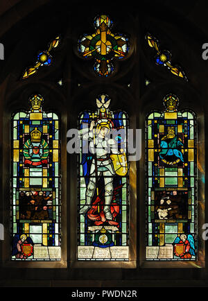 Keesey War Memorial window, 1947. Church of Saint Mark, Natland, Cumbria, England, United Kingdom, Europe. - Stock Image