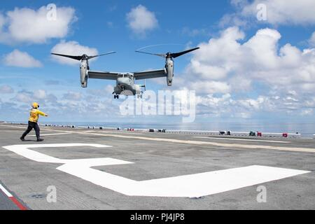 180827-N-KW492-0117 ATLANTIC OCEAN (Aug. 27, 2018) A MV-22 Osprey prepares to land on the flight deck of the Wasp-class amphibious assault ship USS Kearsarge (LHD3) during the Carrier Strike Group FOUR (CSG 4) Amphibious Ready Group, Marine Expeditionary Unit Exercise (ARGMEUEX). Kearsarge Amphibious Ready Group and 22nd Marine Expeditionary Unit are enhancing joint integration, lethality and collective capabilities of the Navy-Marine Corps team through joint planning and execution of challenging and realistic training scenarios. CSG 4 mentors, trains and assesses East Coast units preparing fo - Stock Image