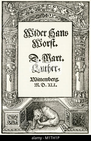 Engraved title page of Luther's tract Against Hans Worst in 1561 - Stock Image