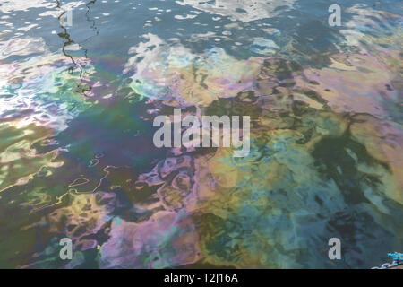 Oil Slick,On Water,Oil Spillage,Pollution - Stock Image