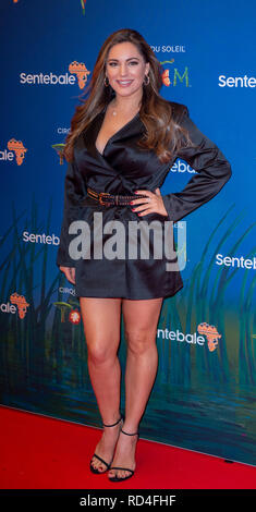 London, United Kingdom. 16 January 2019. Kelly Brook arrives for the red carpet premiere of Cirque Du Soleil's 'Totem' held at The Royal Albert Hall. Credit: Peter Manning/Alamy Live News - Stock Image
