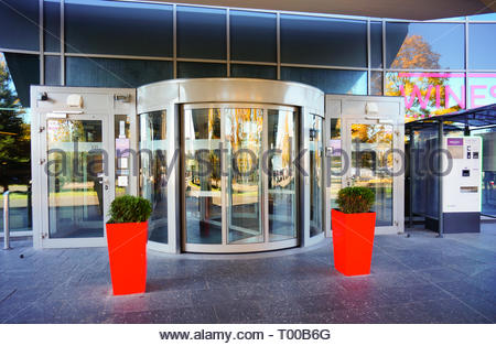 Poznan, Poland - October 31, 2018: Front entrance to the Mercure Hotel building. - Stock Image