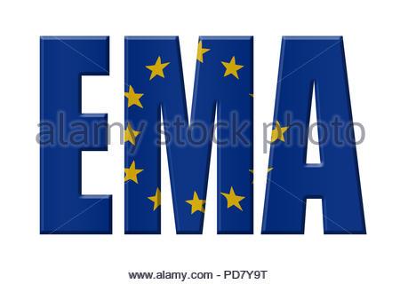 Digital Illustration - EU agency. EMA European Medicines Agency, Europäische Arzneimittel-Agentur, Europees Geneesmiddelenbureau - Stock Image