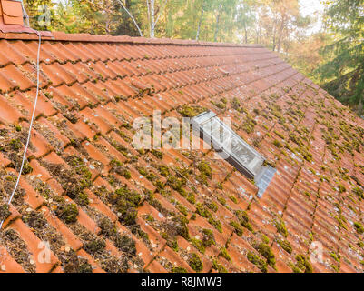 Inspection of the red tiled roof of a single-family house, inspection of the condition of the tiles on one roof side. - Stock Image