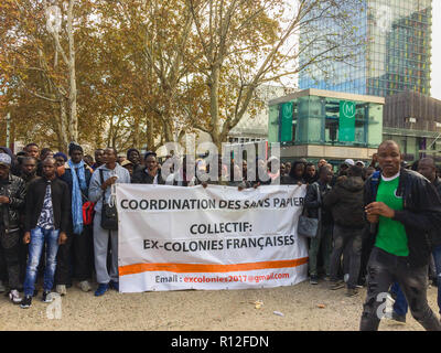 Montreuil, France, Crowd African Immigrants, Migrants Demonstration, Sans Papiers, protest against Police Action Delodging in Squat - Stock Image