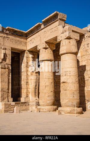 Medinet Habu Temple, Peristyle Court. Luxor, Egypt - Stock Image