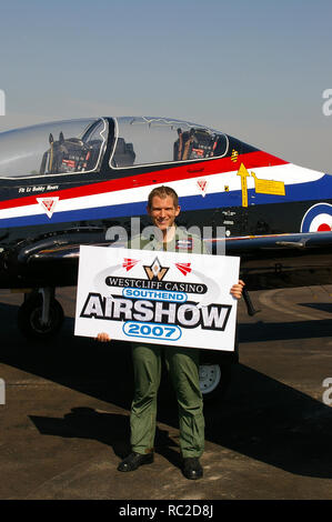 RAF Royal Air Force Short Tucano plane display pilot Flt Lt Bobby Moore at London Southend Airport to promote the 2007 Southend Airshow - Stock Image
