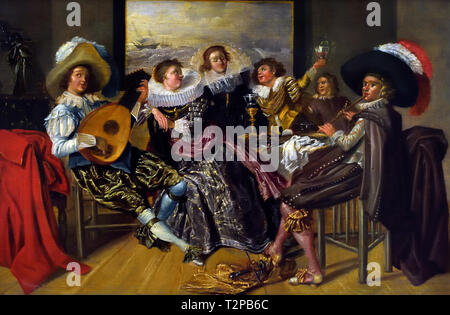 Merry Company, Dirk HALS, 1591 – 1656, Dutch, The, Netherlands, - Stock Image
