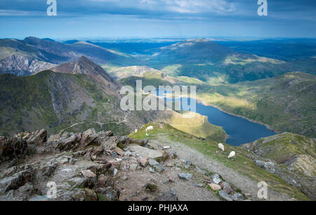 View from the summit of Snowdon in Snowdonia National Park, Wales, UK - Stock Image