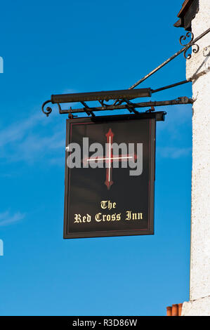 The Red Cross Inn Pub Sign UK Pub Signs - Stock Image
