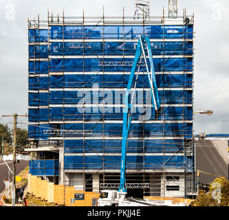 Gosford, New South Wales, Australia - September 3. 2018: Construction and building progress update 128. Delivering concrete to new home units building - Stock Image