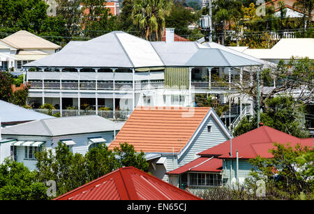 Queenslander houses, a style typical of older suburbs of Brisbane and across Queensland, Australia. Wooden homes; - Stock Image