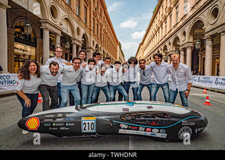 Turin, Italy. 20th Jun 2019. Turin Auto Show 2019 - Event ' The Polytechnic of Turin in dynamic action with the IDRAkronos - the team H2politO that created the project Credit: Realy Easy Star/Alamy Live News - Stock Image